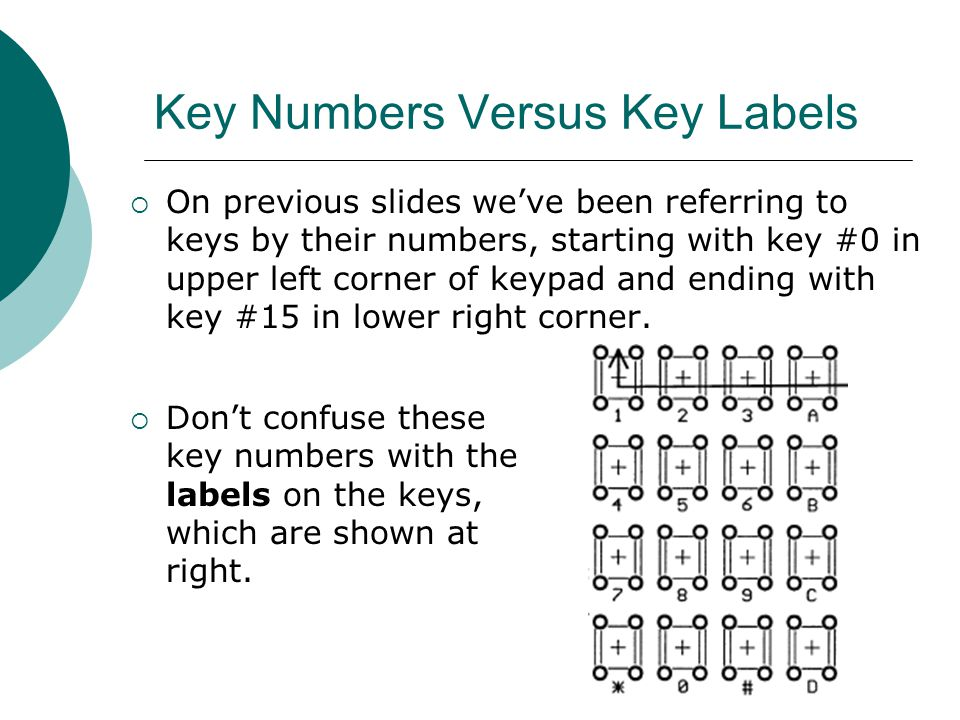 Key Numbers Versus Key Labels