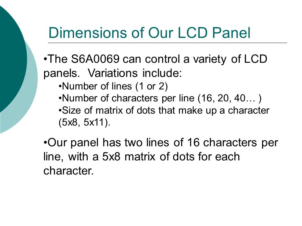 Dimensions of Our LCD Panel