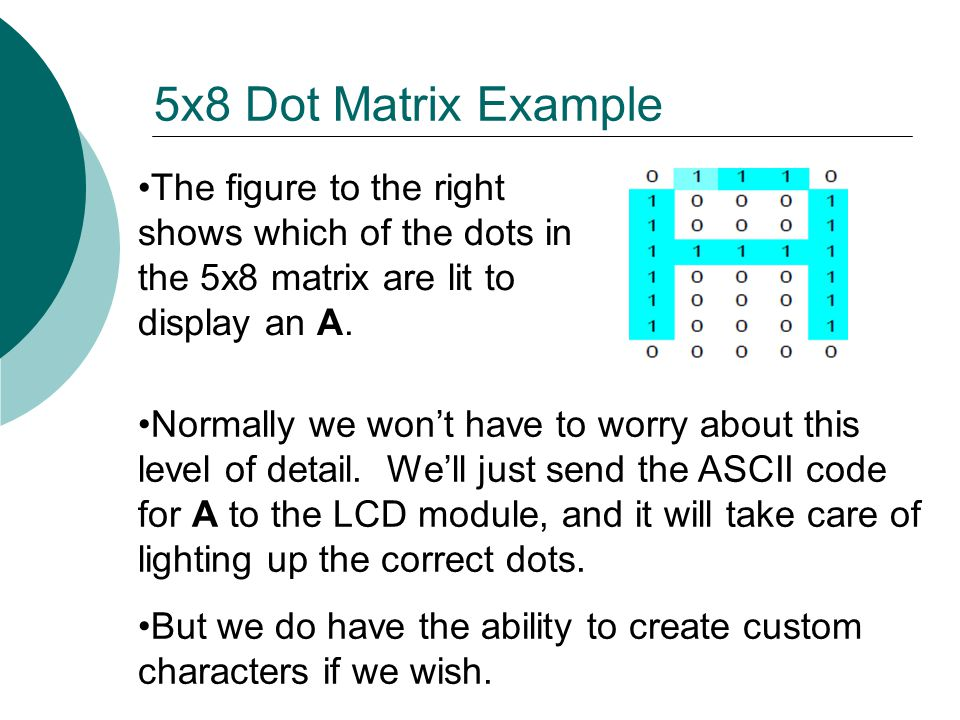 5x8 Dot Matrix Example The figure to the right shows which of the dots in the 5x8 matrix are lit to display an A.