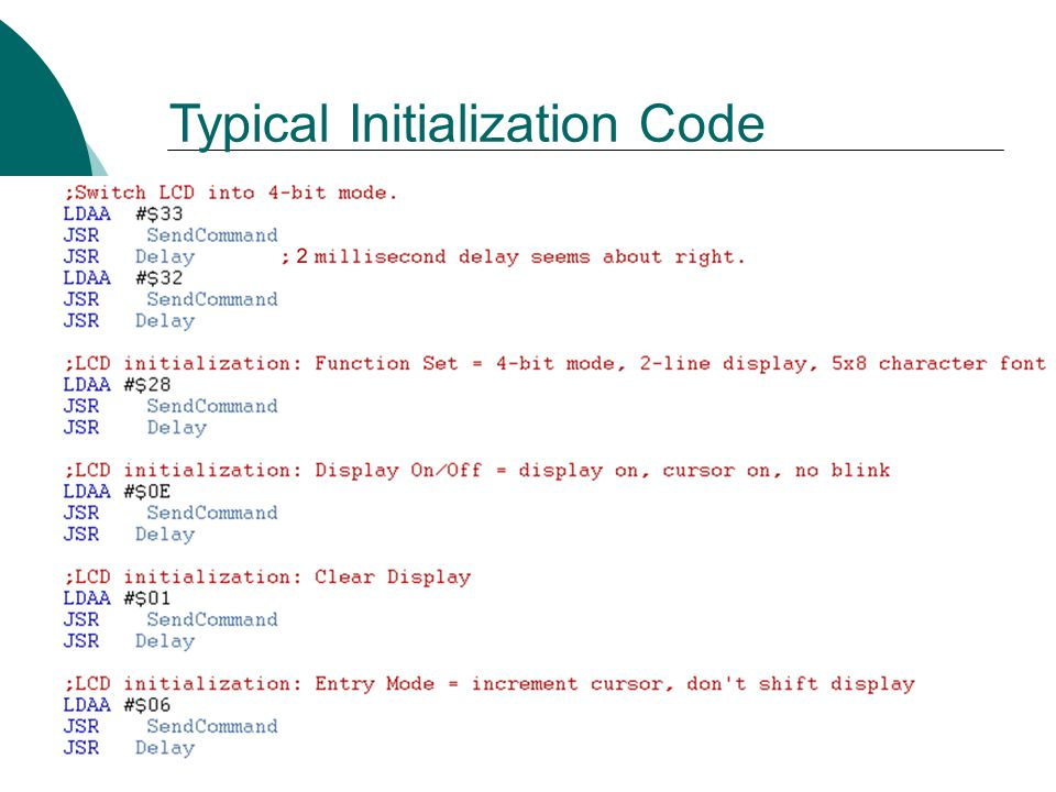 Typical Initialization Code