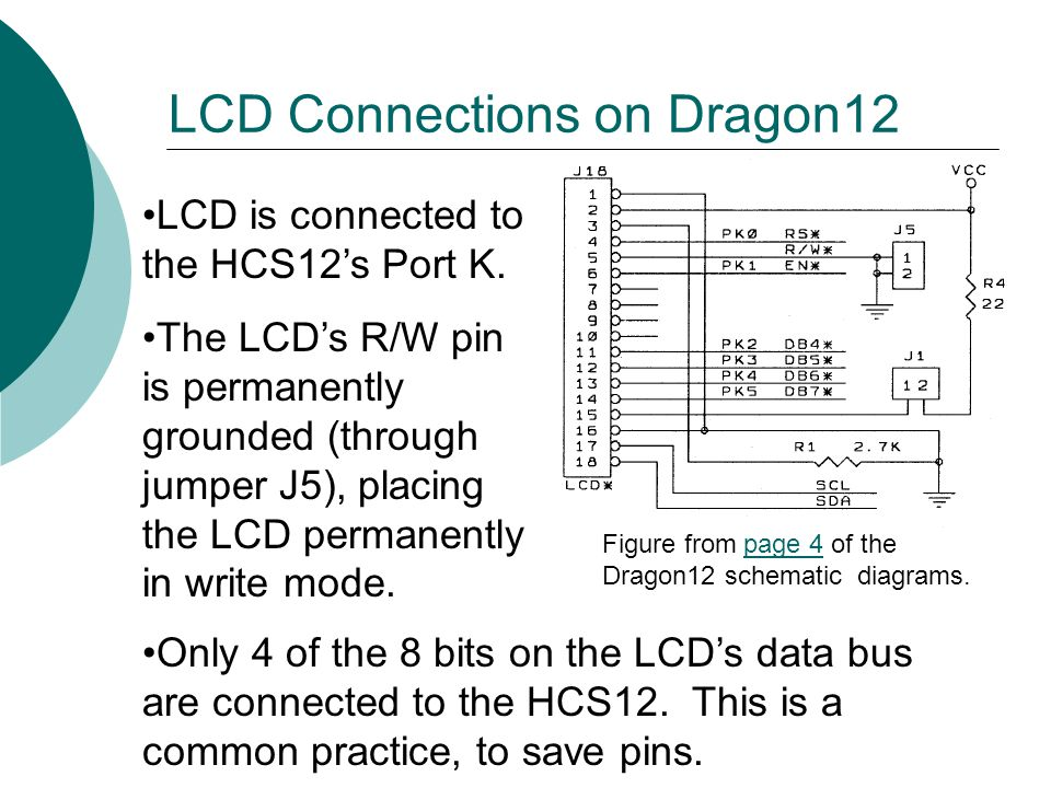 LCD Connections on Dragon12