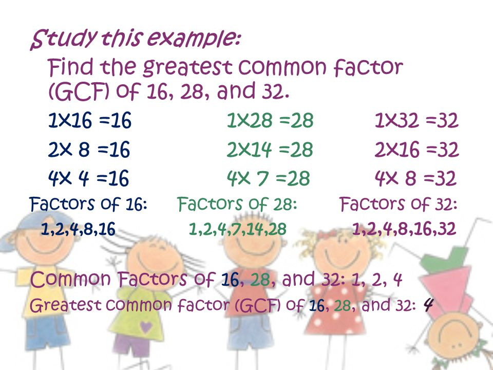 Find the greatest common factor (GCF) of 16, 28, and 32.