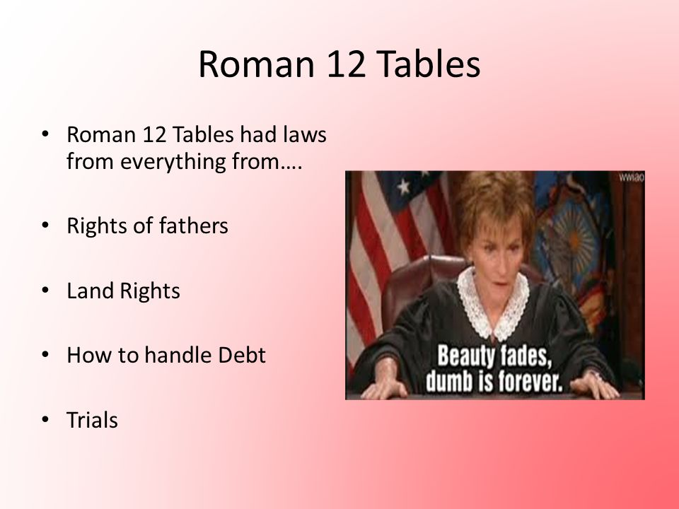 Roman 12 Tables Roman 12 Tables had laws from everything from….