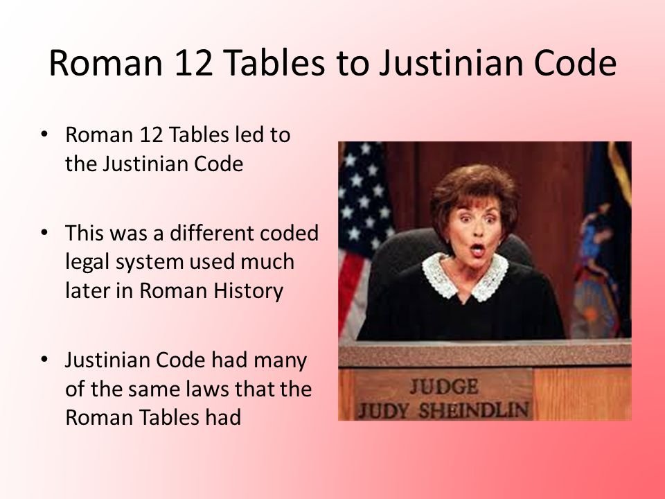 Roman 12 Tables to Justinian Code
