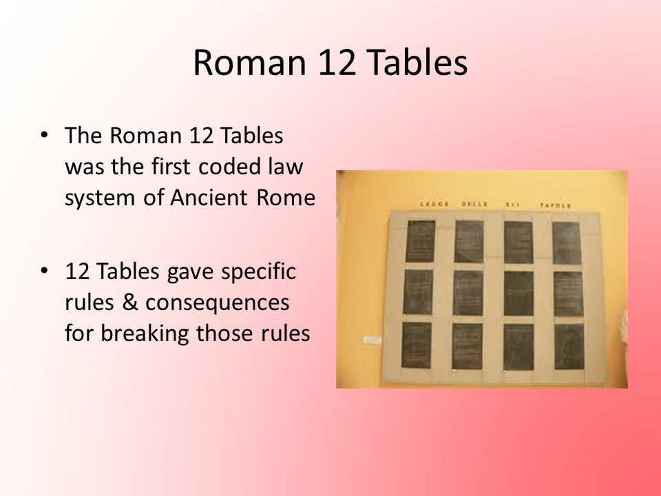 Roman 12 Tables The Roman 12 Tables was the first coded law system of Ancient Rome.