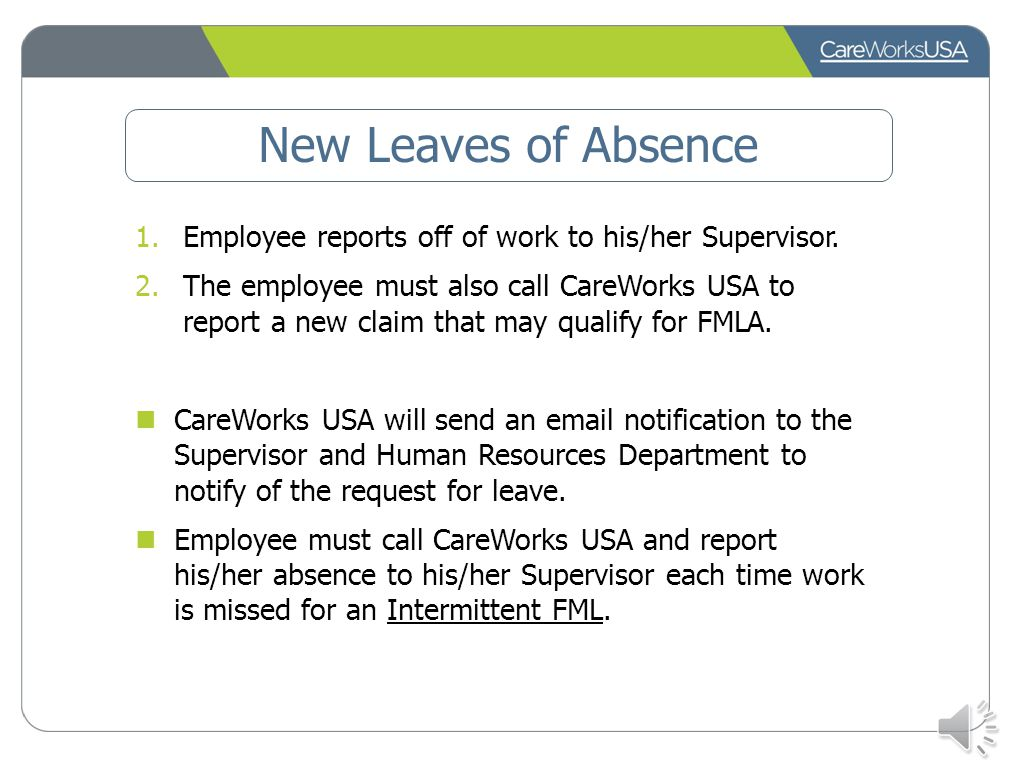 New Leaves of Absence Employee reports off of work to his/her Supervisor.