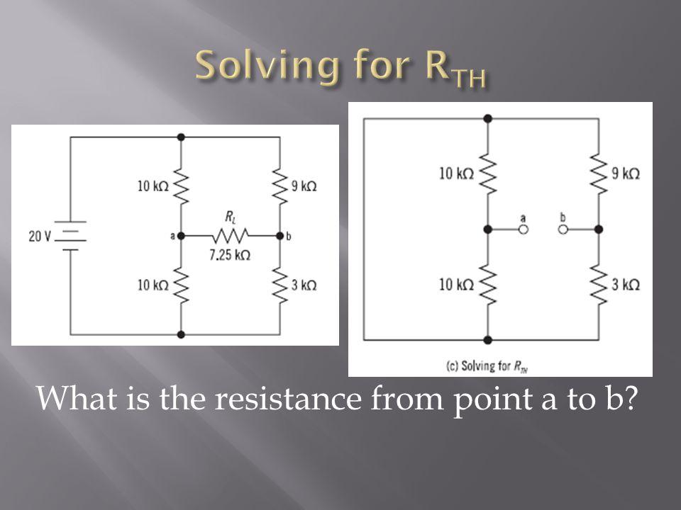 Solving for RTH What is the resistance from point a to b