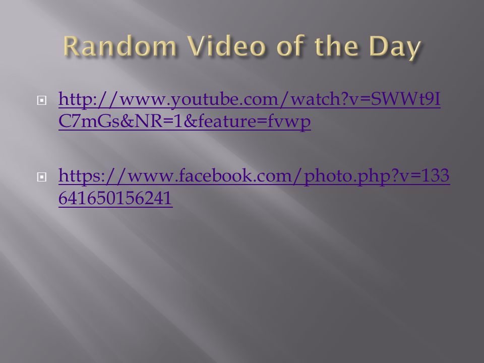 Random Video of the Day http://www.youtube.com/watch v=SWWt9IC7mGs&NR=1&feature=fvwp.