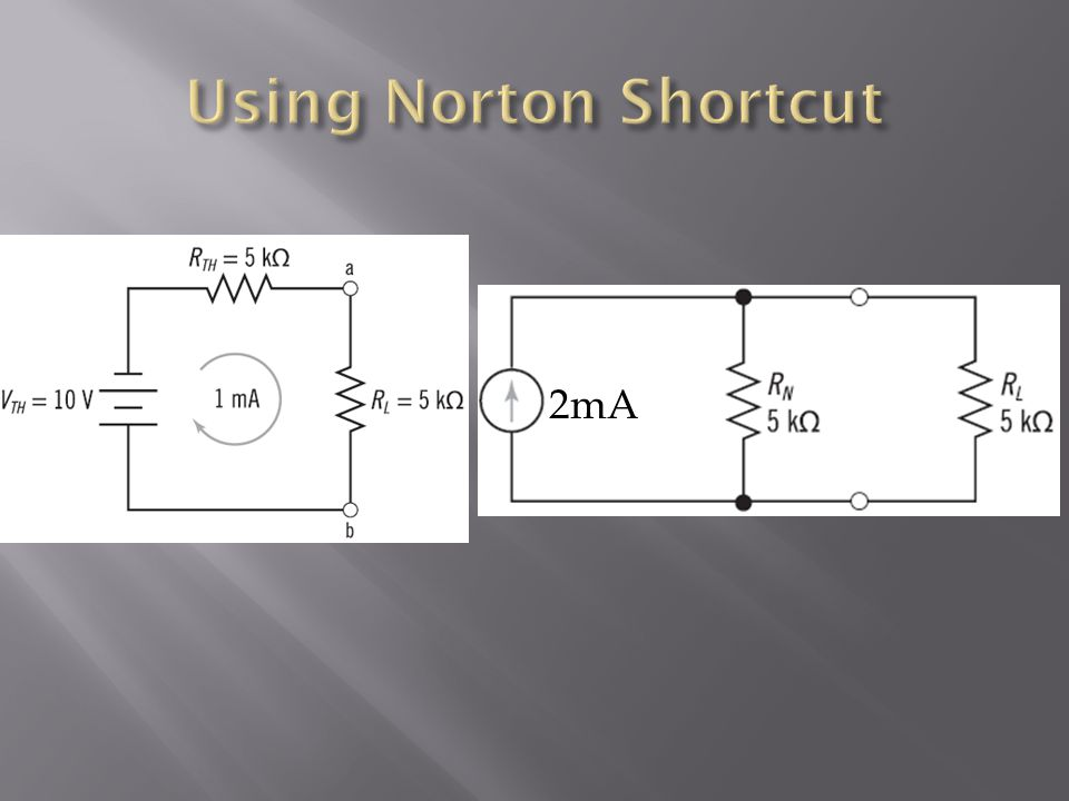 Using Norton Shortcut 2mA