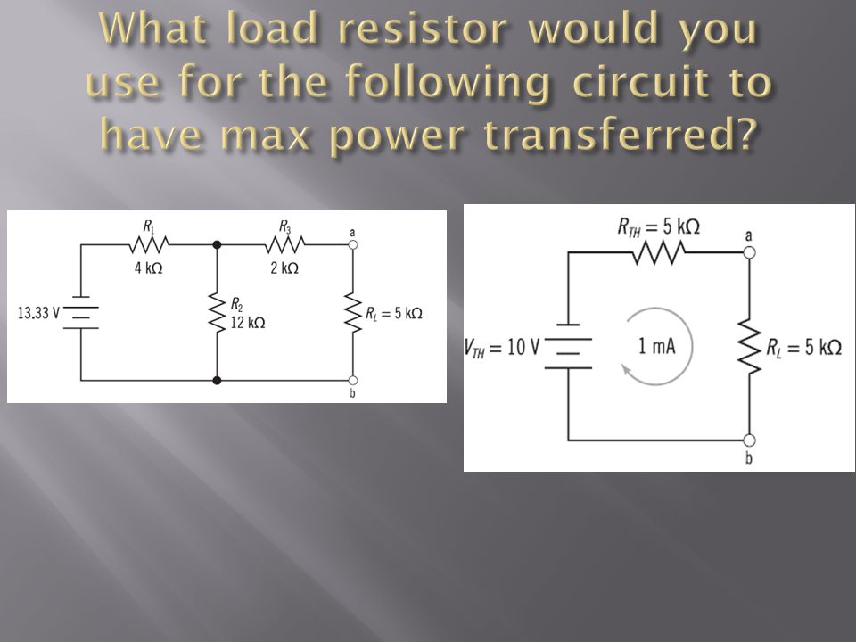 What load resistor would you use for the following circuit to have max power transferred