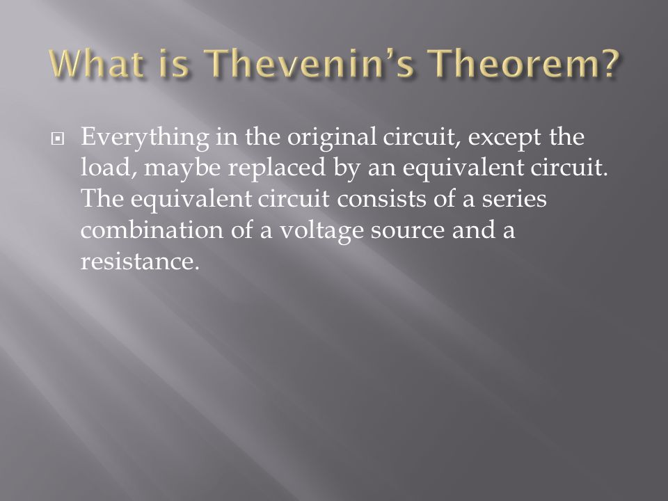 What is Thevenin's Theorem