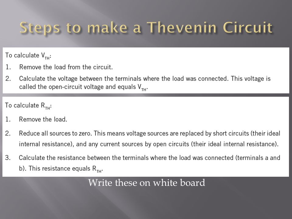 Steps to make a Thevenin Circuit