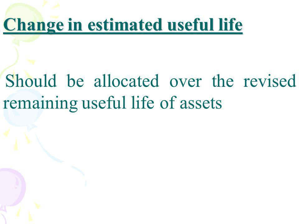 Change in estimated useful life
