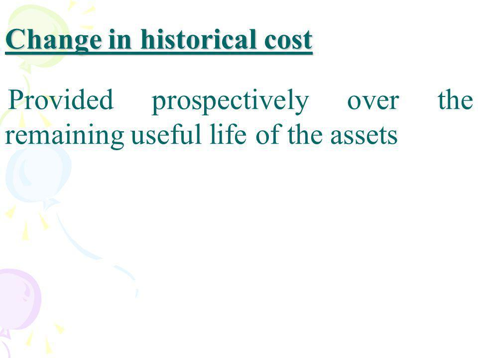 Change in historical cost
