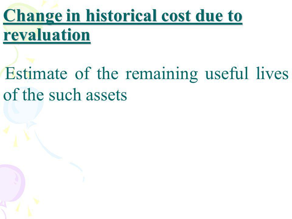 Change in historical cost due to revaluation
