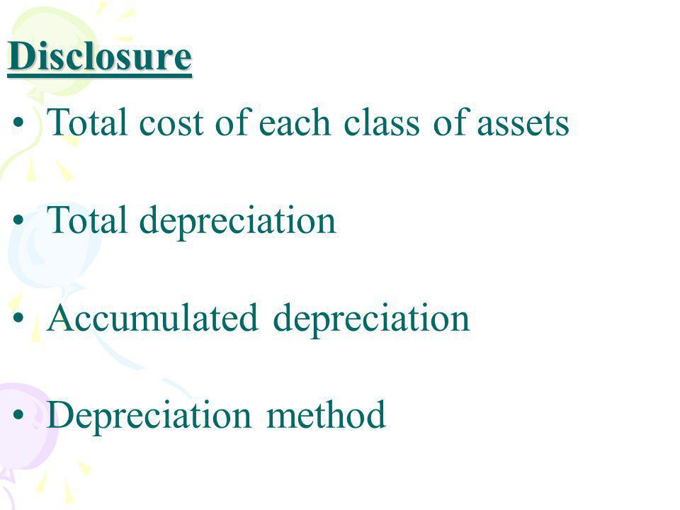 Disclosure Total cost of each class of assets Total depreciation