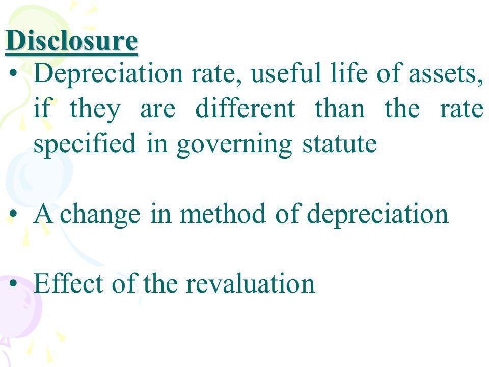 Disclosure Depreciation rate, useful life of assets, if they are different than the rate specified in governing statute.