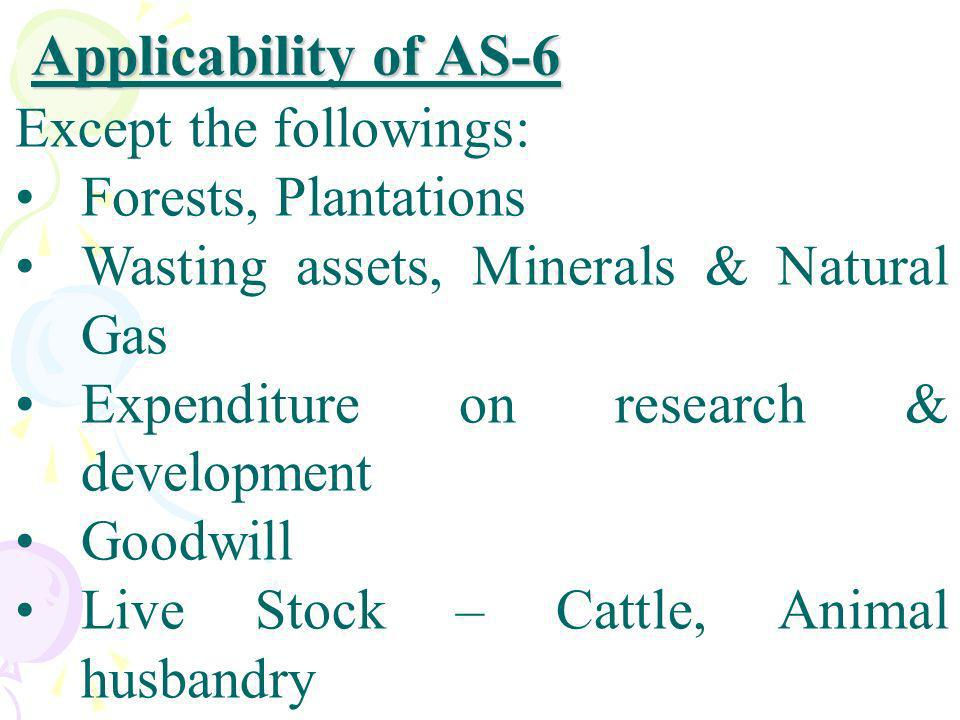Applicability of AS-6 Except the followings: Forests, Plantations