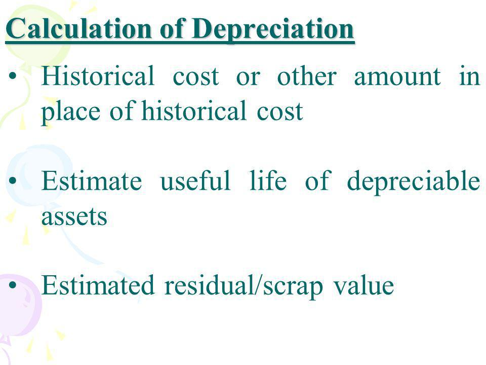 Calculation of Depreciation