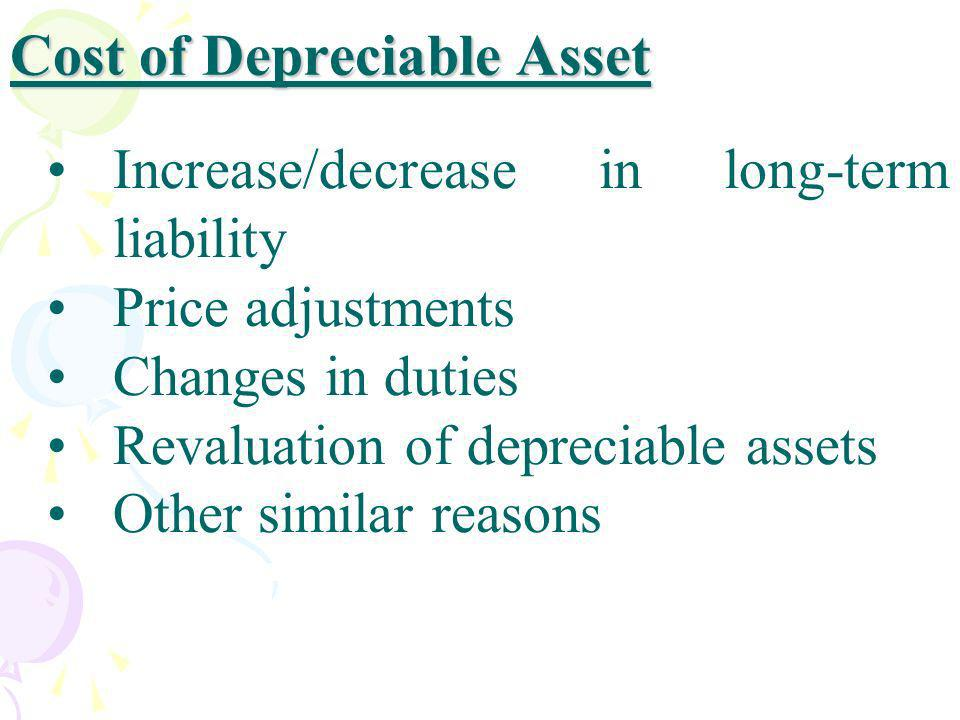 Cost of Depreciable Asset