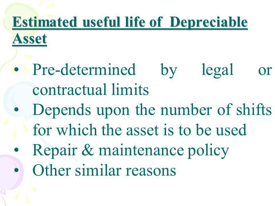 Estimated useful life of Depreciable Asset