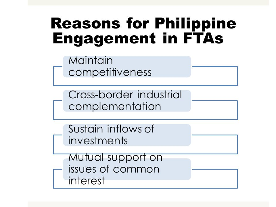 Reasons for Philippine Engagement in FTAs