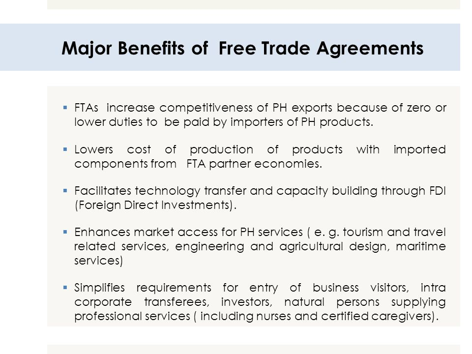 Major Benefits of Free Trade Agreements