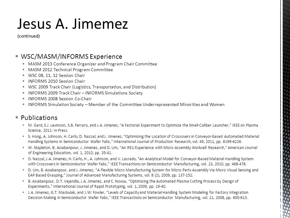 Jesus A. Jimemez (continued)