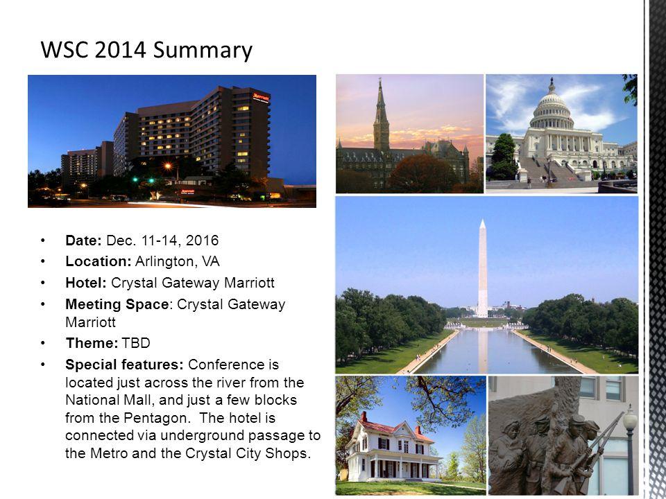 WSC 2014 Summary Date: Dec. 11-14, 2016 Location: Arlington, VA