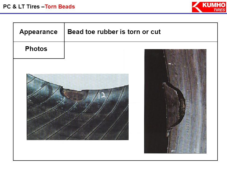 Bead toe rubber is torn or cut