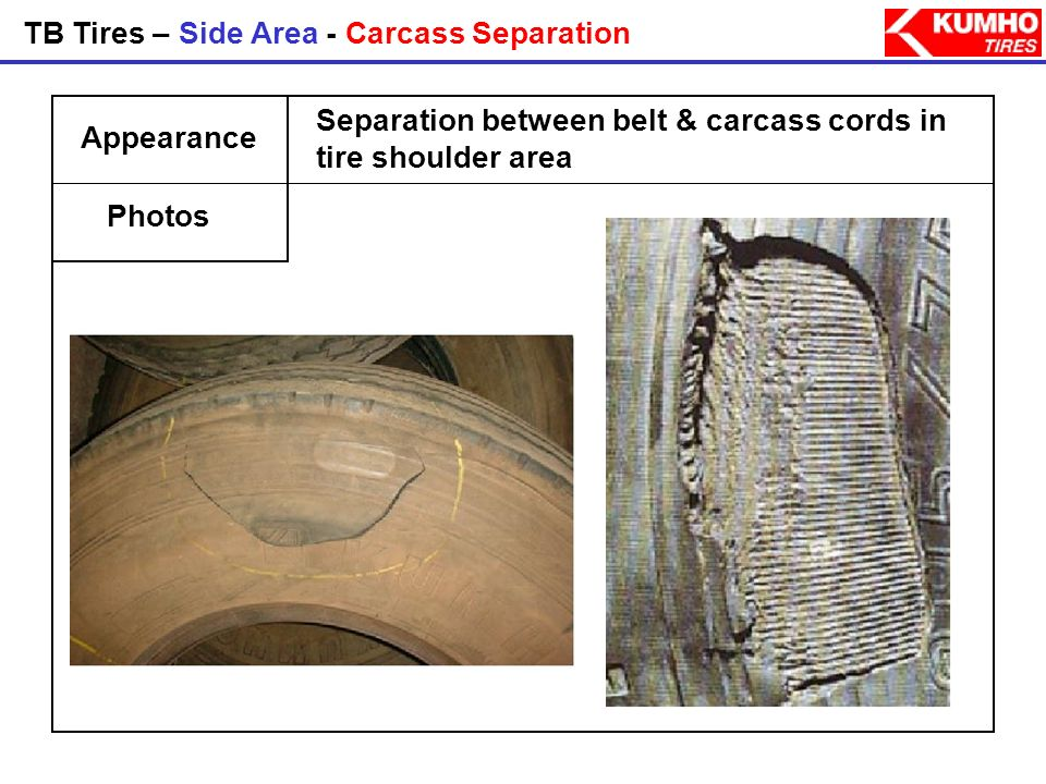 TB Tires – Side Area - Carcass Separation