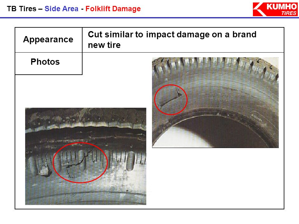 Cut similar to impact damage on a brand new tire Appearance