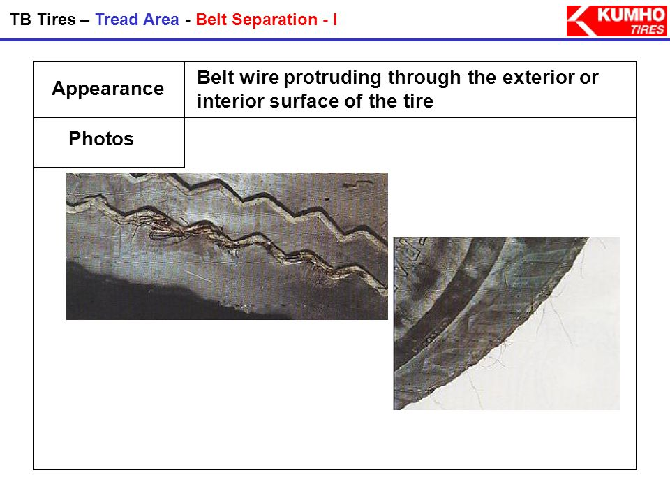 TB Tires – Tread Area - Belt Separation - I