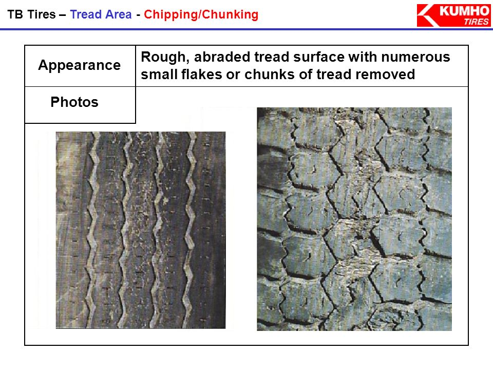 TB Tires – Tread Area - Chipping/Chunking