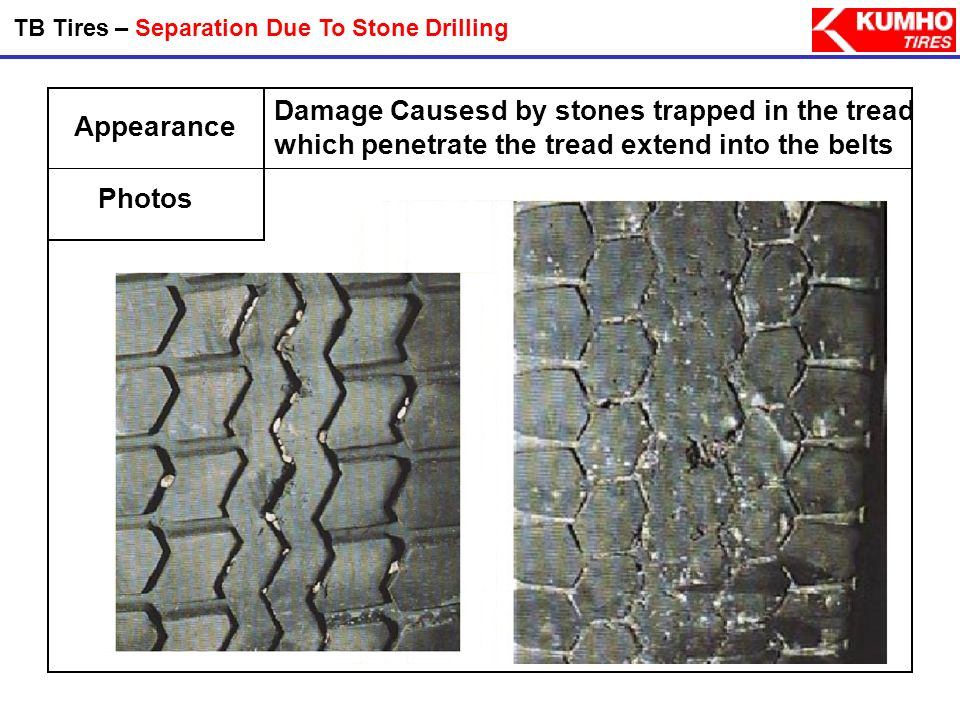 TB Tires – Separation Due To Stone Drilling