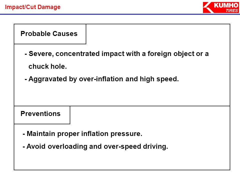 - Severe, concentrated impact with a foreign object or a chuck hole.