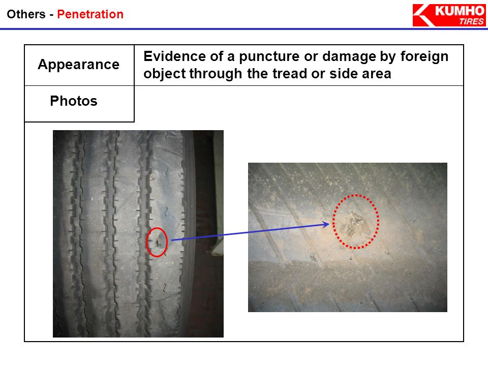 Others - PenetrationEvidence of a puncture or damage by foreign object through the tread or side area.