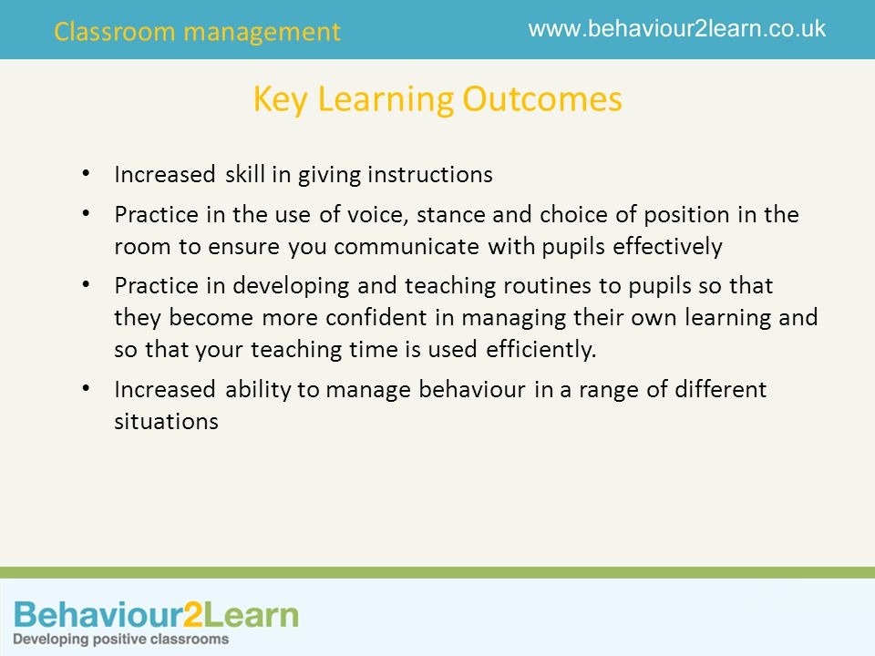 Key Learning Outcomes Increased skill in giving instructions