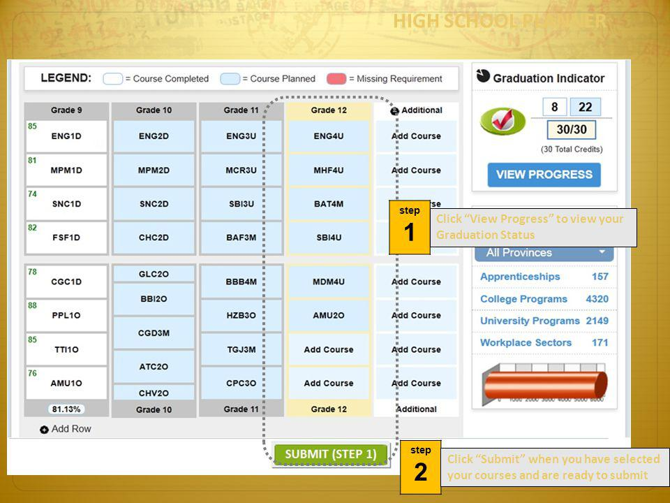 HIGH SCHOOL PLANNER step. 1. Click View Progress to view your Graduation Status. step. 2.