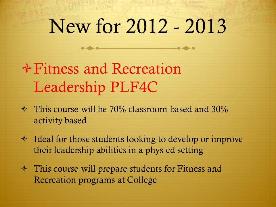 New for 2012 - 2013 Fitness and Recreation Leadership PLF4C
