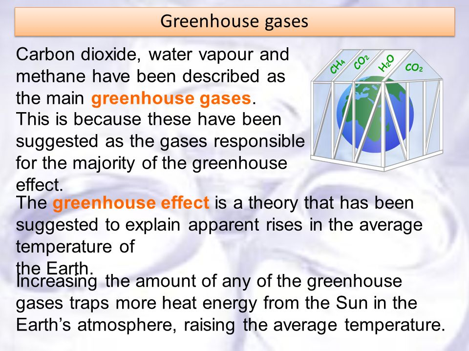 Greenhouse gases Carbon dioxide, water vapour and methane have been described as the main greenhouse gases.