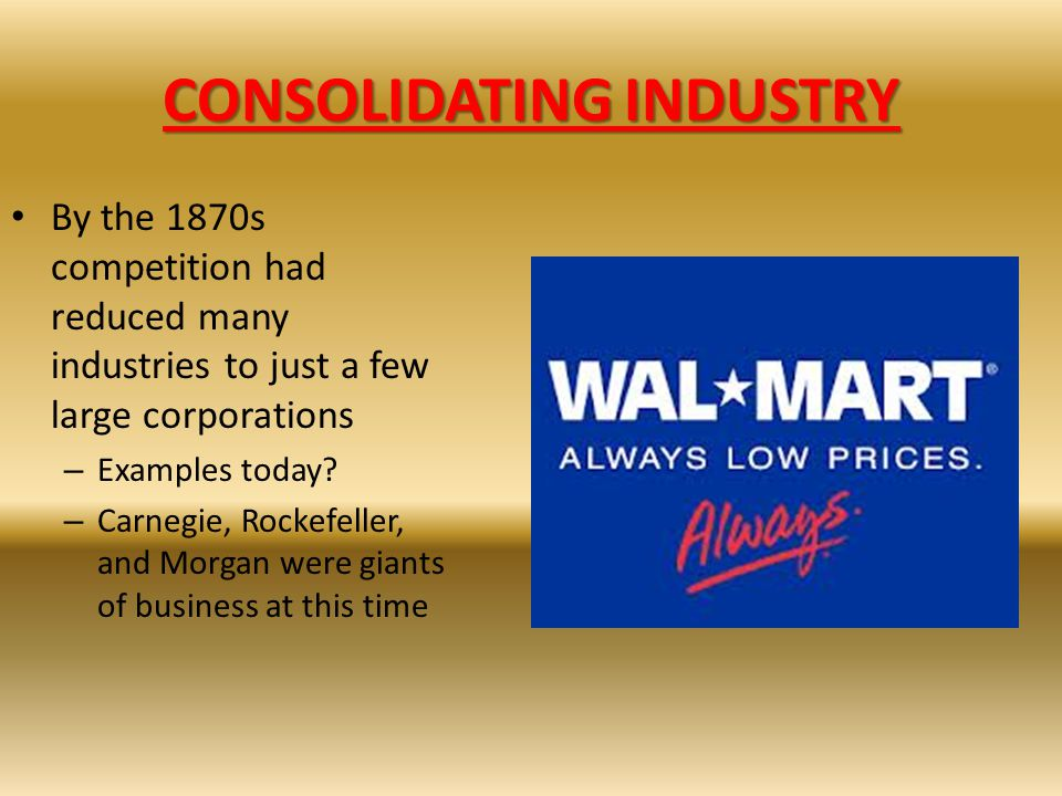 CONSOLIDATING INDUSTRY