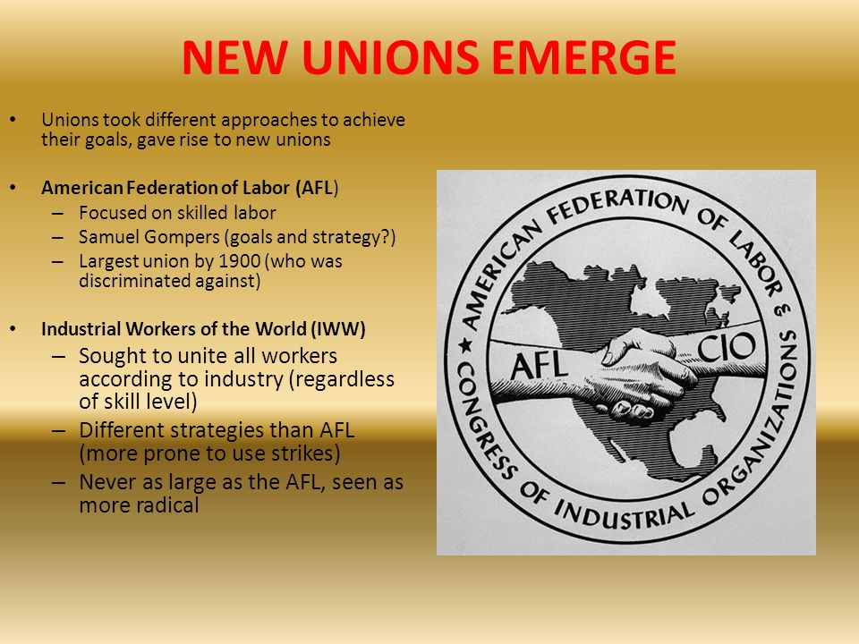 NEW UNIONS EMERGE Unions took different approaches to achieve their goals, gave rise to new unions.