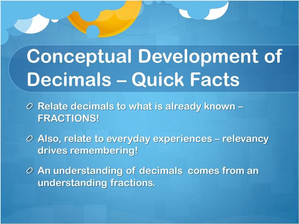 Conceptual Development of Decimals – Quick Facts
