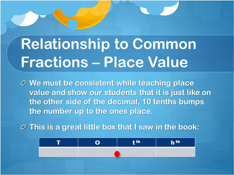 Relationship to Common Fractions – Place Value