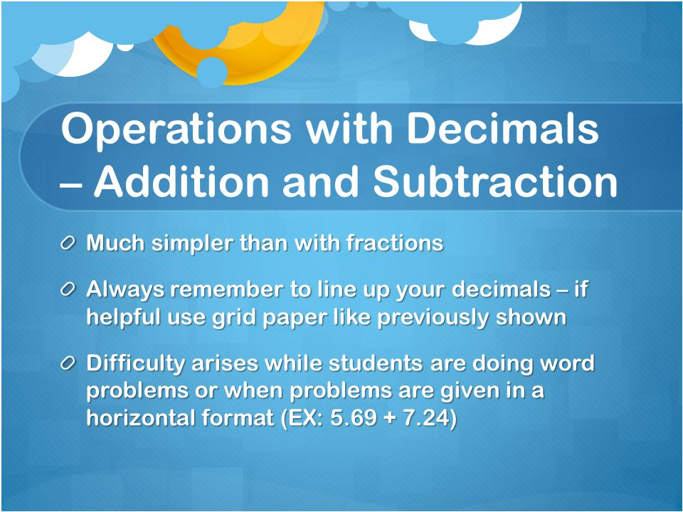 Operations with Decimals – Addition and Subtraction