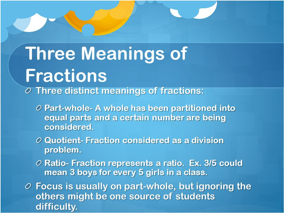 Three Meanings of Fractions