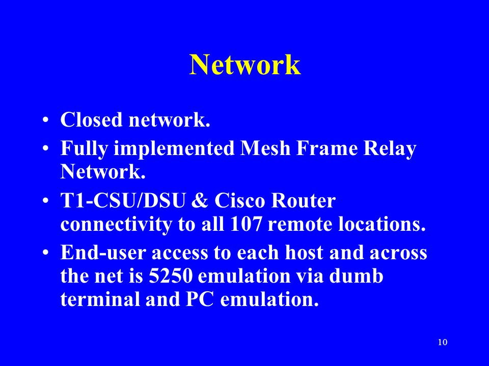 Network Closed network. Fully implemented Mesh Frame Relay Network.