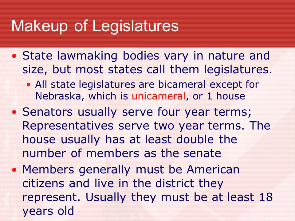 Makeup of Legislatures