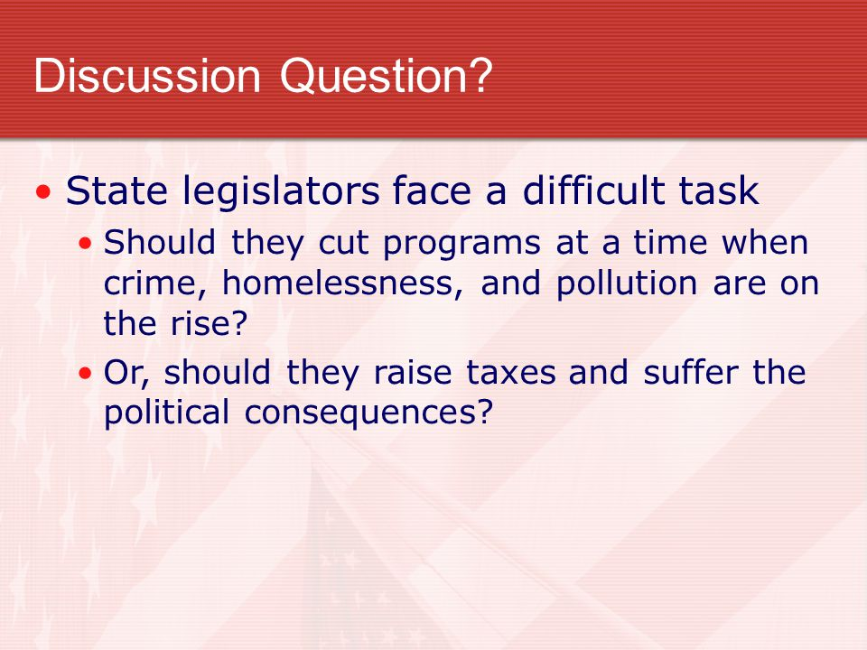 Discussion Question State legislators face a difficult task